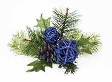 Free Ornamental Blue Balls And Pine Cone On Green Spruce Stock Image - 34070381