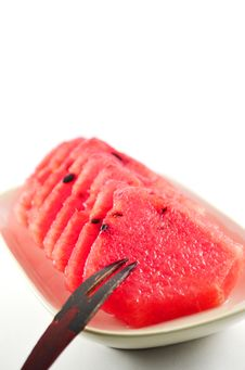 Free Fresh Slices Of Red Watermelon Royalty Free Stock Photo - 34070775