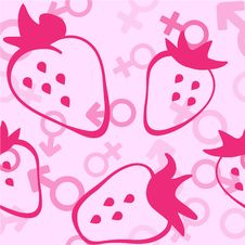 Pink Strawberry Seamless Pattern Royalty Free Stock Photos