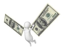 Free Flying 3D Man With A Wings Made Of Dollar Cash Royalty Free Stock Photo - 34072195