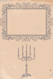 Free Frame And Candlestick On Old Paper Stock Photos - 34073463