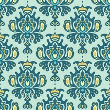 Free Damask Royal Seamless Pattern Vector Stock Photography - 34088872