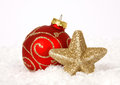 Free Red-golden Baubles And Star Royalty Free Stock Image - 34094406
