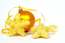 Yellow Bauble And Yellow Stars Stock Image