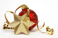 Free Red-golden Bauble And Star Stock Photo - 34094590
