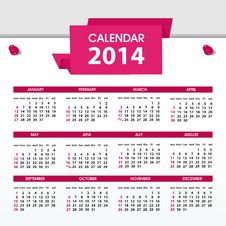 Calendar For 2014 Stock Images