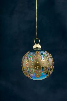 Free Christmas Decoration On Blue Royalty Free Stock Photography - 3410767