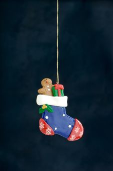 Free Christmas Decoration On Blue Stock Images - 3410894