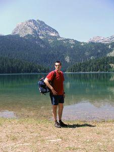 Free Man Hiking Near A Lake Of Durmitor Mountain Stock Photos - 3411423