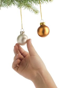 Free Christmas Hanging On Balls Stock Images - 3411664