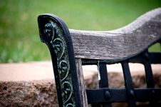 Free Wrought Iron Bench In Garden Stock Photography - 3413022