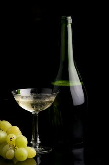 Grapes And Champagne Stock Image