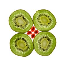 Free Four Kiwis And Pomegranate Royalty Free Stock Images - 3416349