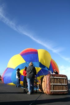 Inflating A Hot Air Balloon Royalty Free Stock Photos