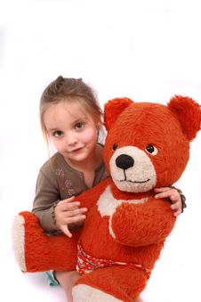 Girl And Bear Stock Photo