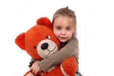 Girl And Bear Stock Image