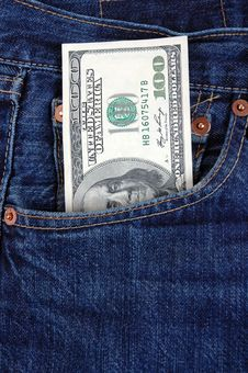 Dollar In Pocket. Stock Photo