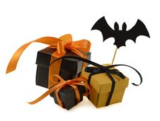 Free Halloween Gifts With Bat Decoration Stock Photo - 34101600