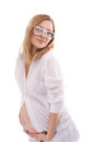 Free Pregnant In White Shirt And Glasses Royalty Free Stock Photography - 34157317