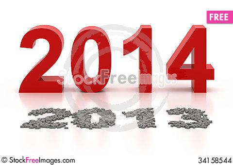 Free Happy New Year 2014 Stock Images - 34158544