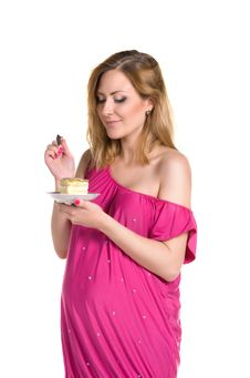 Pregnant Woman Eating Cake Royalty Free Stock Photo