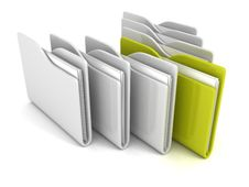 Free Set Of Office Paper Folders With One Green Royalty Free Stock Image - 34158616