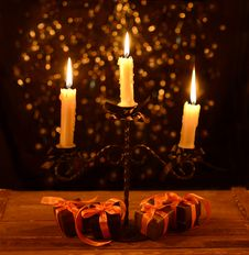 Free Candelabra With Halloween Gifts Royalty Free Stock Photography - 34159087