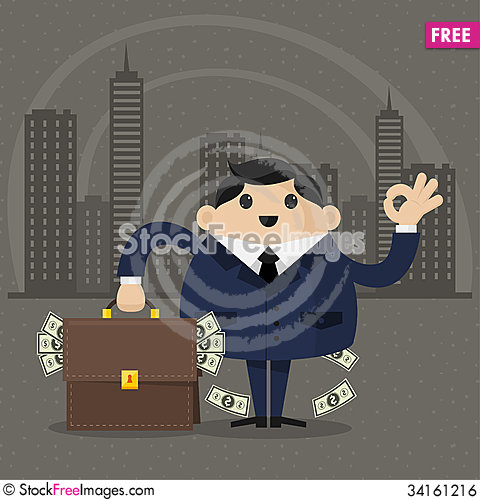 Free Businessman Holds A Suitcase With Money Royalty Free Stock Image - 34161216