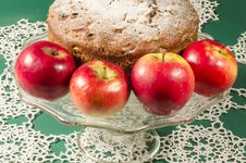 Applesauce Raisin Rum Cake For Christmas Table. Macro, Horizontal Image Stock Image
