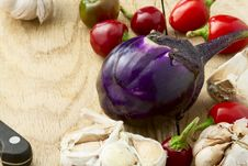 Eggplant Peppers And Garlic Royalty Free Stock Images