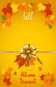 Free Autumn Fall Of Discount Poster Royalty Free Stock Image - 34169586