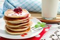 Free ,  Pancakes With Strawberry Jam Stock Photo - 34170000