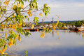 Free View Of The River Port Through Tree Branches Stock Photography - 34171452