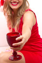 Free Woman Portrait. Beautiful Girl Hold Wine Glass. Stock Photos - 34171683
