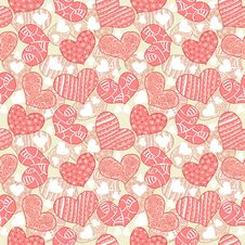 Seamless Texture With Hearts Stock Photo