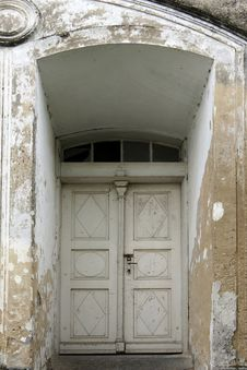 Old White Double Doors Stock Photography