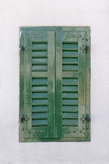 Window With Green Shutters Royalty Free Stock Photos