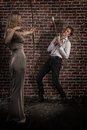 Free Amazing Woman With Bow And Arrow Hunted A Handsome Man Royalty Free Stock Photography - 34183037