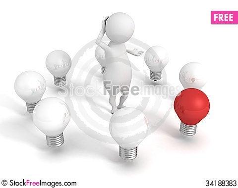 Free 3d Man Choice Concept Red Idea Light Bulb Stock Photos - 34188383