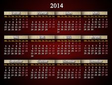 Beautiful Claret Calendar For 2014 Year In Swedish Royalty Free Stock Photo