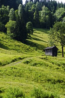 Old Wooden Barn In The Alps Mountains Stock Image