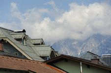 Free View Of The Alp Mountains Above The Roof Off Kitzbuhe Stock Images - 34181724
