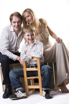 Free Happy Family Portrait: Mother, Father, Son Smiling Stock Photo - 34183240