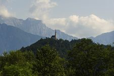 Free Church On The Top Of The Mountain On The Background Of The Alps Stock Photo - 34183440