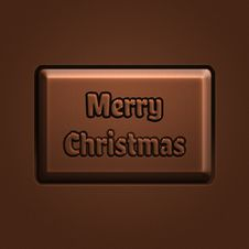 Merry Christmas Invitation, Piece Of Chocolate Royalty Free Stock Image