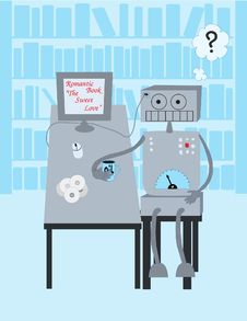 Robot Reads A Book Royalty Free Stock Photo