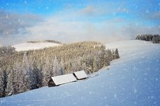 Snowfall In The Mountains Royalty Free Stock Photos