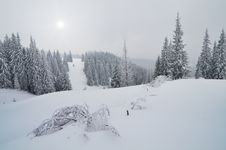 Winter In The Mountain Valley Stock Image