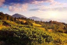 Free Sunny Evening In The Mountains Royalty Free Stock Photo - 34195505