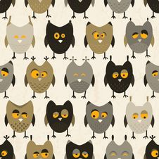 Free Owl Seamless Pattern. Vector Background. Stock Photos - 34198383